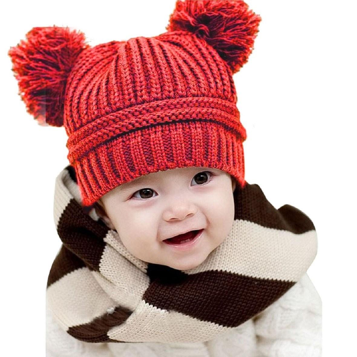 Baby Kids Girls Boys Dual Balls Warm Winter Knitted Caps Hats Beanie 2015 Cute