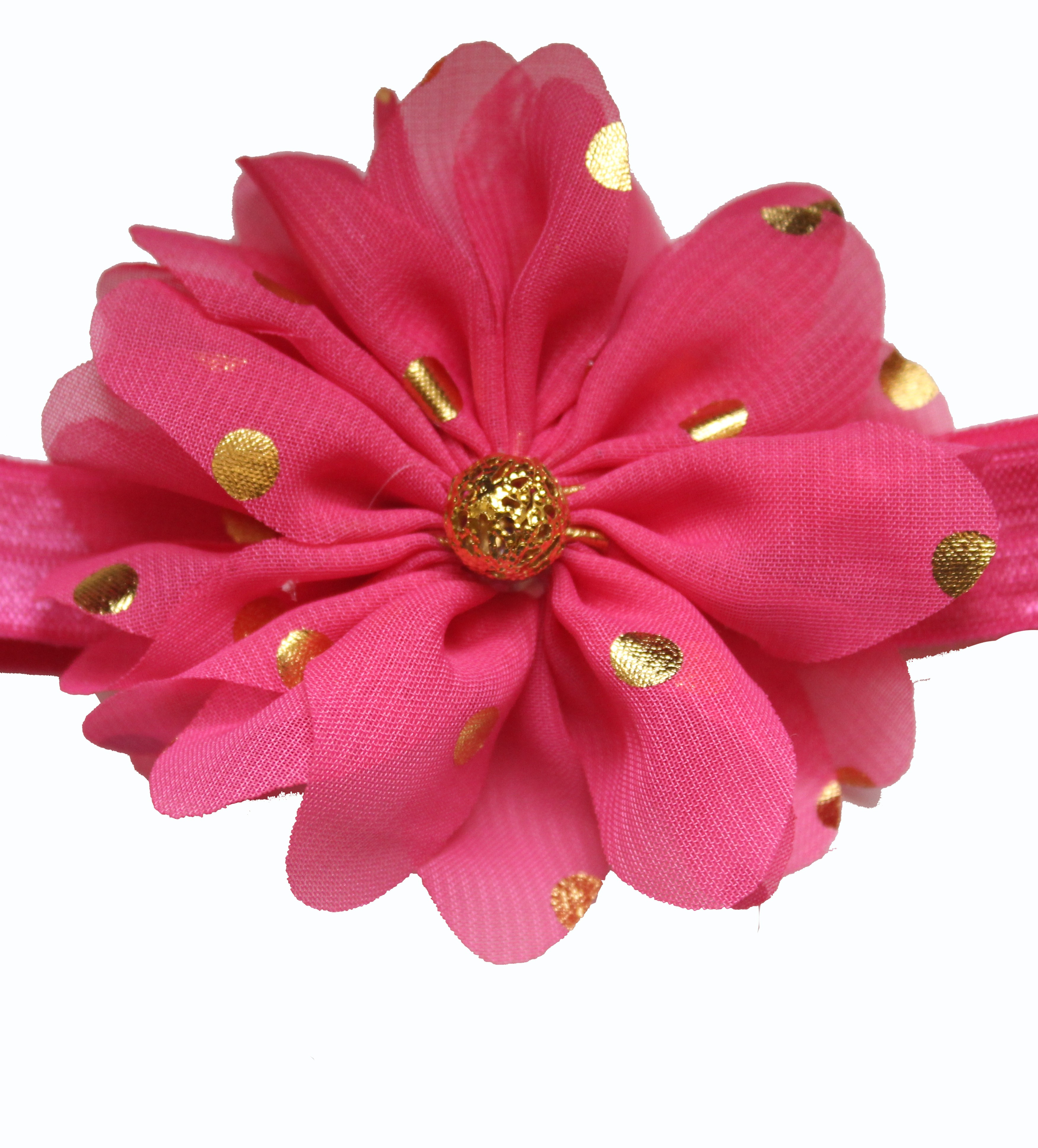 Bellazaara Fushia Pink Gold Polka Dots Large Chiffon Flower Headband