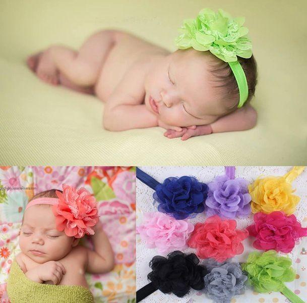 27df2f98522e1 BELLAZAARA Baby Cute White Rose Chiffon lace flower headbands hair  accessories